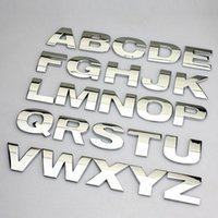 Wholesale 3D metal English Letter car stickers Digital Arabic Numbers Decals DIY Badge Logo emblem for Auto motorcycle suv atv Top quality
