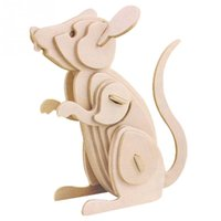 Wholesale New D Three dimensional Wooden Mouse Style Jigsaw Puzzle Toys for Children Kid Handmade Wood Nice Gift P0636