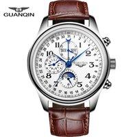 automatic perpetual calendar - Watches men luxury brand GUANQIN automatic mechanical watch waterproof perpetual calendar Leather sport clock relogio masculino
