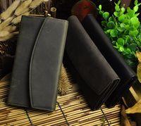 bag photo seller - Crazy Horse Leather Man Wallet Long Shape Clutch Bag Genuine Leather Popular Hot Sales Simple Credit Card Wallets Best Seller New Arrivial