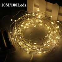 Wholesale 10M FT Led AA Battery Powered operated LED Silver Copper Wire Flash Fairy String Lights Christmas Garland Holiday Wedding Party decor