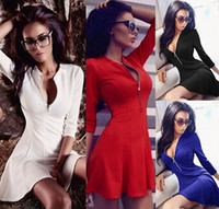 Wholesale 2016 European New Spring Sexy Slim V neck Sleeve Ruffled Party Evening Cocktail Mini Dress with Zip