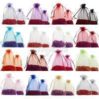 Wholesale 50pcs cm x cm Organza Bags Drawable Jewelry Pouch Gift Packaging Bag Candy Bag for Wedding Party Favors Xmas Decorations