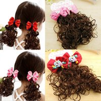 Wholesale 1 pair Bow Flower Wavy Ponytail Wigs Hair Clips Hairpiece Baby Girl Kid Fashion Gift Hair Clips Baby Hair Accessories