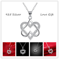 Wholesale Romantic Silver Classic Closer Heart Telesthesia Necklace Fashion Luxury Jewelry Link Chain Charm Bling Pendants love Gift