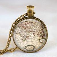 atlas glass - Vintage globe necklace vintage world atlas pendant world map jewelry keepsake map pendant