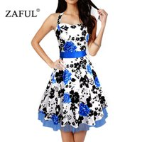 Cheap ZAFUL 2016 Pin Up Vestidos S-4XL Plus Size Women Summer dress Retro Casual Party Robe Rockabilly 50s Vintage Dresses Voile hem