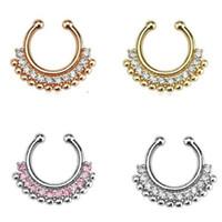 30pcs cristal de mode indien plaqué or faux septum anneau argent faux nez anneau piercing pour les femmes bijoux corps Livraison gratuite