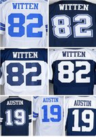 austin shipping - 2016 Drop Ship Elite Austin Witten White Blue Name Number Logo Stitched Mens Jerseys Mix Order Accept