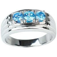 Wholesale 925 Sterling Silver Men Ring Three stone Simulated Blue Topaz Size to Fashion Jewelry Christmas Gift for Boyfriend