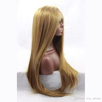 ash lacing - Silky Straight Brown Ash Blonde Wigs For Black Women Cheap Good Quality Heat Resistant Synthetic Lace Front Party Wig