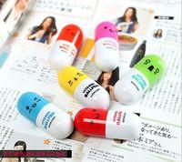 abs pills - Lovely expression pills telescopic pen key chain ring ballpoint pen cartoon smiley T ABS paragraph pills pen