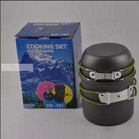 aluminum cooking utensils - Outdoor Aluminum camping pot Camping Hiking Picnic Cookware Utensils Portable Picnic Pot and Pan Cooking Set LJJO185