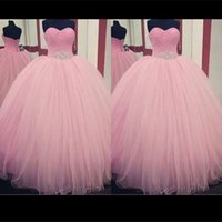 Wholesale Lace Bodice Special Occasion Dresses - Quinceanera Prom Ball Gowns Sweetheart Neckline Criss-cross Pleats Bodice Beading Drop Waist Pink Tulle Special Occasion Dresses Real Image
