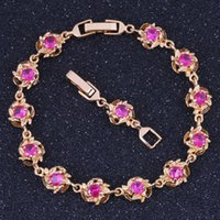 Wholesale Noble Red Ruby K Gold Plated Bracelet For Women Fashion Jewelry B0011