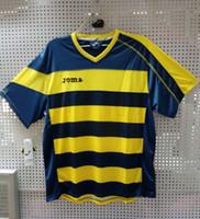 Wholesale plus size JOMA football clothing Soccer uniform jersey yellow blue v neck short sleeve top men adult team sportwear
