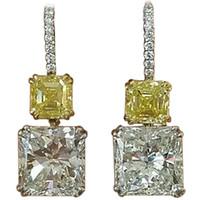 asscher cut diamond earrings - GIA cts Radiant Fancy Yellow Asscher Cut Diamond Drop Earrings C200
