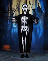 best ghost costume - 2016 Best Cool Halloween Cosplay Costume Clothes Skeleton Horror Ghost Mask Gloves Set Performance Kit Scary Masquerade Prop