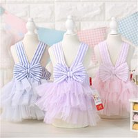 Wholesale 2016 spring and summer striped tutu dresses blue purple pink color xs xl size seersucker skirt cake strap dress pet dog clothes