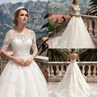 Wholesale Vestidos De Noiva Wedding Dresses with Detachable Sleeves Full Length Appliqued Lace Wedding Dress Custom Made Bridal Gowns