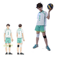 al por mayor coágulo al por mayor-¡Al por mayor-Coser Anime japonés Haikyuu !! Oikawa Tooru Role Cosplay Traje Clotes NO.1 Top Pantalones Kneepad Volleyball Jersey