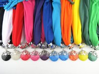 Wholesale Pendants jewelry scarf polyester pure color fringed round resin pendants scarves jewelry scarf