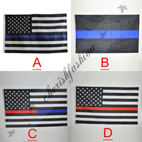 Wholesale Fedex DHL Free Blue Line USA Flags By Foot Thin Red Line US Flag Black White And Blue American Flag With Brass Grommets style M135 B