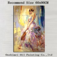 beauty supply pictures - Top Artist Team Supply High Quality Impression Lady With Violin Oil Painting On Canvas Beauty Lady Wearing Dress Oil Paintings