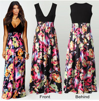 american pipes - European and American fashion print dress deep V neck sleeveless dress Hot DFML106 summer dresses for women
