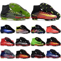 Wholesale Mens Kids Football Soccer Shoes Mercurial Superfly V FG Football Boots Women Girls CR7 Original Youth Soccer Cleats Boys High Ankle Boots