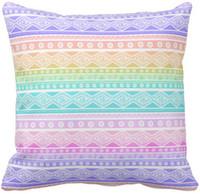 achat en gros de oreillers aztec-Pastel Rainbow Pink Girly Aztec Throw Pillow 50% coton et 50% lin Material Couleur 16x16inch, 18x18inch, 20x20inch