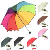 Wholesale Top Quality Rib Color Rainbow Fashion Long Handle Straight Anti UV Sun Rain Stick Umbrella Manual Big Parasol DJ0047