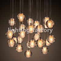 bar pendant lighting - Famous brand LED Crystal Glass Ball Pendant Meteor Rain Ceiling Light Meteoric Shower Stair Bar Droplight Chandelier Lighting AC110 V