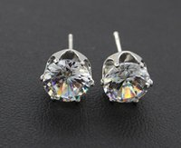 Wholesale silver earrings natural crystal fashion small sterling silver jewelry for women stud men or women earings