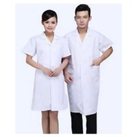 Wholesale 2016 New Hospital Work Clothing Lapel White Gown Doctor Overall Doctor Nurse Work Uniform Clothes for Unisex Superior Fabric Anti dust