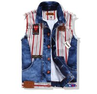 badge pattern - HOT High Quality New Fashion Mens Washed Patchwork Denim Vest Sleeveless Jean Jacket Outdoor Spring Summer Casual Slim Coat M L