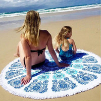 Wholesale 2016 Outdoor Print Thin Round Tassel Beach Towel For Women Cover Ups Tablecloth Sunscreen Blankets Scarves Shawl Yoga Mat Wrap Skirt