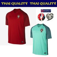 Tailandia de la calidad maillot de pie 16 17 Portugal Jersey 2016 Hogar ausente de Jersey del fútbol de verde rojo de la camisa de fútbol Ronaldo Survetement de Fútbol