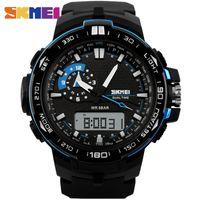 big display watch - SKMEI Big Dial Men Sport Watch Dual Display PU Strap Outdoor Waterproof Running Digital Watches