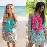 beaches thailand - Off Should Vintage Dress Women Thailand Wind Beach Colors Plus Size Fashion Women Clothing Africa Print Dashiki Dress CCA4712