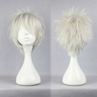 anime male figure - cm Short Silver White Hitman Reborn Synthetic Male Cosplay Wig Pop Cartoon Figure Byakuran Anime Costume Cosplay Wigs Headwear