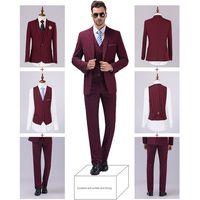 beige blazer men - Jackets Vest Pants New Burgundy black Men Suits Slim Fit Tuxedo Brand Fashion Bridegroon Business Dress Wedding black Suits Blazer