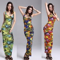 Wholesale Summer Women Maxi Dress Brand New Sleeveless High Waist elegant and sexy cotton vest dress nightclub skirt leaves are printed