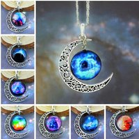 antique brass necklaces - 2016 Women Chic Pendant Necklace with Antique Copper Moon and Colorful Mysterious Universe
