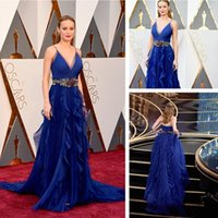 Wholesale Famous Celebrity Brie Larson Oscars Dresses Spaghetti Straps Beaded Sash Formal Dresses Evening Wear Court Train Chiffon Party Gowns