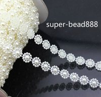 Wholesale 50M Flat Back Flower Wedding Decoration ABS White Pearl Rolls Chain Jewelry mm