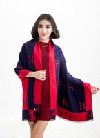 Wholesale best selling new fashion cashmere scarf letter h real wool pashmina colors