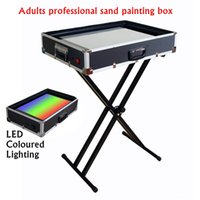animation light table - New Fancy Crazy Sand Art Box Adults Professional Sand Painting Table Sand Animation Perform Prop Equip LED Coloured Light