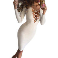 Wholesale 2016 New Winter women Sexy Dress Long sleeved V neck Bandage Dress Nightclubs Dresses S M L XL XXL