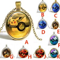 Wholesale Unisex Retro New Poke Pikachu Necklace Cartoon Elf Time Gemestone Pendant Necklace Silver Bronze Jewelry XMAS Gifts Style ZJ N09